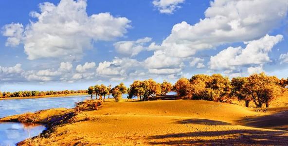 接团,乘车赴 【弱水·金沙湾风景区】(车程约1小时,景区游览3小时)