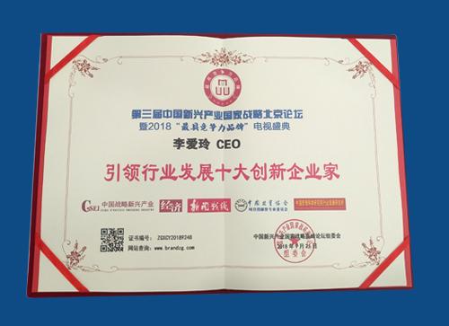 """旅游圈CEO李爱玲荣获""""引领行业发展十大创新企业家"""""""