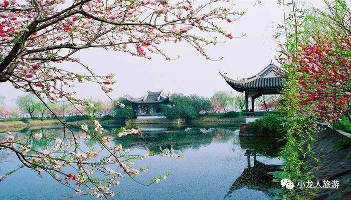 以水景见长,细细窄窄的长提,小桥,长廊架于水上,到了3,4月份桃花盛开